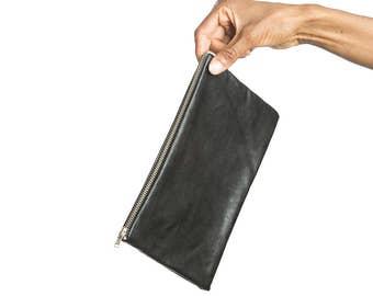 Black zipper pouch, Black leather clutch, Minimalist, Black leather purse, Minimalist bag, Leather bag, Leather zipper pouch, Leather purse
