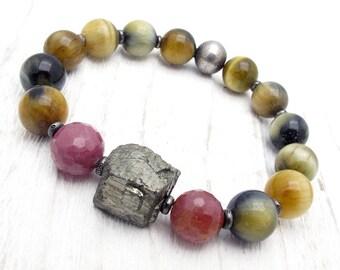 gemstone bracelet, boho bracelet, pyrite, fools gold, Hill Tribe silver, ruby bracelet, cat eye jasper, luxury boho, Christmas gift,