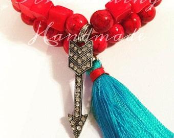 Red Tassle Arrow  Gemstone Bracelet Set
