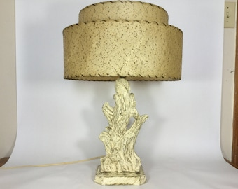 MCM Chalkware Lamp With Two Tier Shade, 50s Freeform Branch Lamp With  Plastic /Rubber