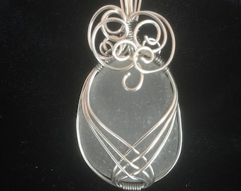White wire wrapped sea glass pendant and necklace. sea glass jewelry, beach glass jewelry, sea glass necklace