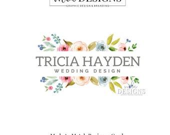 Wedding Logo, Blog Header, Floral Logo, Watercolor Deisgn, Business Logo, Premade Logo, Custom Logo Design, Interior Design Logo