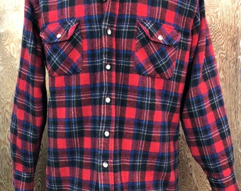 Vintage 1980's Quilted Wool Flannel Shirt Red Plaid Large