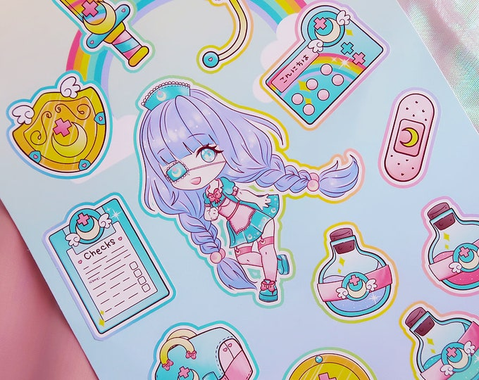 Kawaii Nurse White Vinyl Peel-able Sticker Sheet