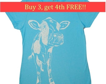 Ladies TShirt - Regular Fit Tee - Cow T Shirts - Fashion T Shirts - Cool Womens Tops - Trendy Printed Tshirts - Tee Shirts - Light Blue