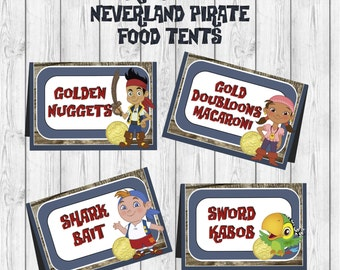 Disney Jake and the Neverland Pirates Birthday Food Tent label printable diy Party Printable