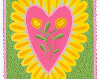 Heart and Flowers Card