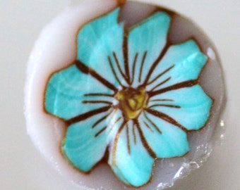 Turquoise Flower Cane, Raw Polymer Clay Cane, Blue Green Millefiore Raw Unbaked