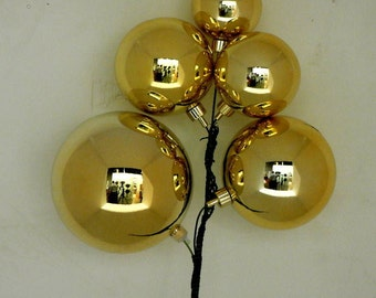 "Gold Christmas Decorations Ornaments- Cluster one pair 12"" in Length"