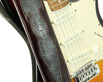 Exotic Leather Guitar Strap, Custom Leather Guitar Strap:  DawnSpring Guitar Strap