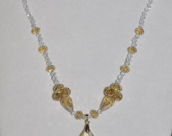 Necklace Champagne Clear Crystal #481 One Of A Kind