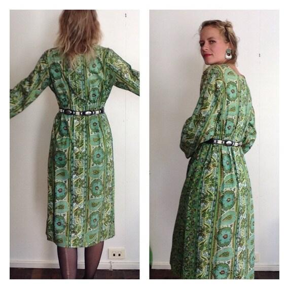 60er Jahre Vintage Block Print Kleid Floral erdig grünen Boho