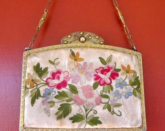 Victorian 1900s Purse - Embroidered silk with Flowers and Jeweled Brass Frame