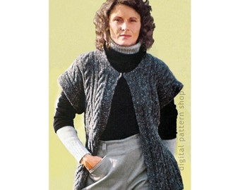 Vest Knitting Pattern Womens Vintage Cable Knit Vest Pattern Cap Sleeves Open Front Jacket Instant Download PDF Pattern - K92