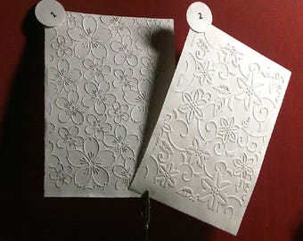 Fund (embossed) embossed cards, floral, plain white paper or color. Set of 5 to choose from 7 designs.