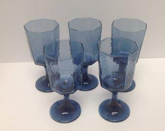 Vintage cobalt  blue stem glasses, textured blue water goblets, Libbey Facets Rock Sharpe, 5 cobalt blue glasses, blue kitchen dining room