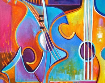 Abstract Painting Original Modern artwork Soul of Music Marlina Vera Art Expressionist fauvism jazz piano sax contemporary guitar musical