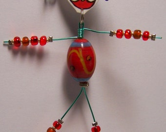 Whimsical Bead Belly Art Doll Christmas Ornament OOAK by Jennifer Obertin ~ Fun Holiday Gift!