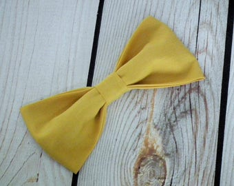 Men's clip-on GOLD bow tie, clip on mustard yellow groomsmen necktie,  pre-tied prom bow tie, necktie, ready to ship