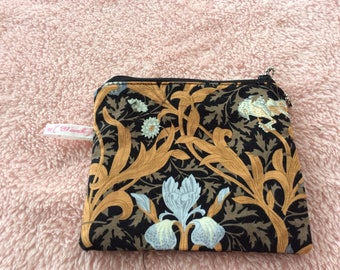 Black and gold Wm Morris pattern fabric cosmetic pouch