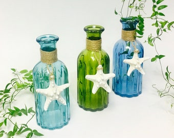 Beach Decor - Glass Bottle w/Natural Starfish and optional Coral or Shell -  Aqua, Green or Blue - coastal star fish sea shells bathroom