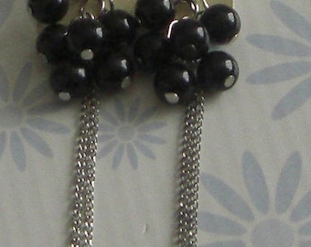 Earrings dangle metal silver beads