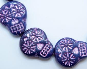 Czech Beads, Sugar Skull Beads, Purple and Pink Skulls, 2 pieces, SSB20, 20X17mm, Jewelry Supplies, Zardenia