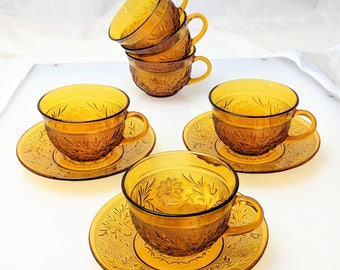 "1970s Retro Set of 9 Pcs Anchor Hocking ""Sandwich-Amber"" Desert Gold Cups Saucers 3621"