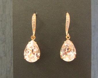 Rosaline Swarovski Rose Gold Earrings/Crystal Rose Gold Earrings/Rose Gold Swarovski Earrings/Bridesmaid Jewelry/Crystal Earrings/Bridesmaid