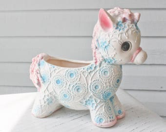 Hard to Find Kitschy Vintage Inarco Japan-Big Eyed Horse-Donkey Nursery Planter-Turquoise and Pink with Etched Flowers-E4584