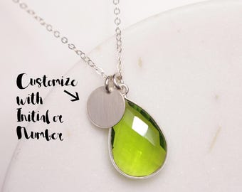 Personalized August Birthstone Custom Necklace - Sophisticated Peridot Necklace - Silver Peridot necklace - Jewelry for layering - For Mom