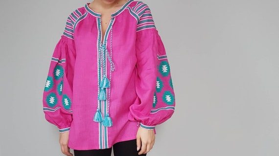 style vyshyvanka Linen boho clothing summer blouse linen embroidered summer clothing color blouse shirt fuchsia qC4CtnwZf5