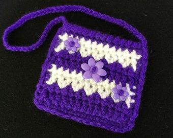 American Girl Doll Purse, 18 inch Doll Accessory, Crochet Doll Purse, Handmade Doll Bag, Gift for Girl, Purple Doll Purse, Flower Button