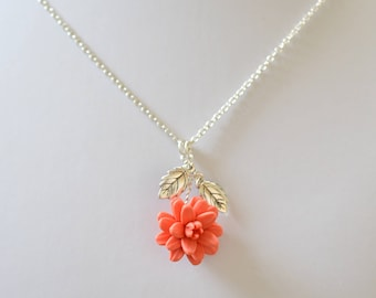 Coral Dahlia and Leaves Drop Necklace. Dahlia Flower Necklace. Coral Flower Necklace
