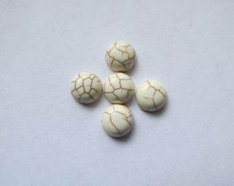 White flat back round cabachons (5pcs)  #ECAB-37 - 8mm