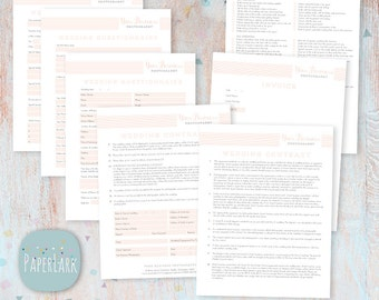 Wedding Photography Questionnaire, Contract and Forms Set - Photoshop Template -  NG005 - INSTANT DOWNLOAD