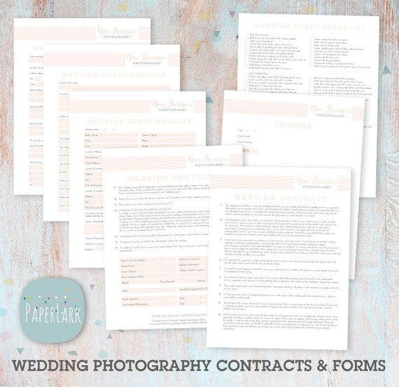 Wedding photography questionnaire contract and forms set wedding photography questionnaire contract and forms set photoshop template ng005 instant download junglespirit Images