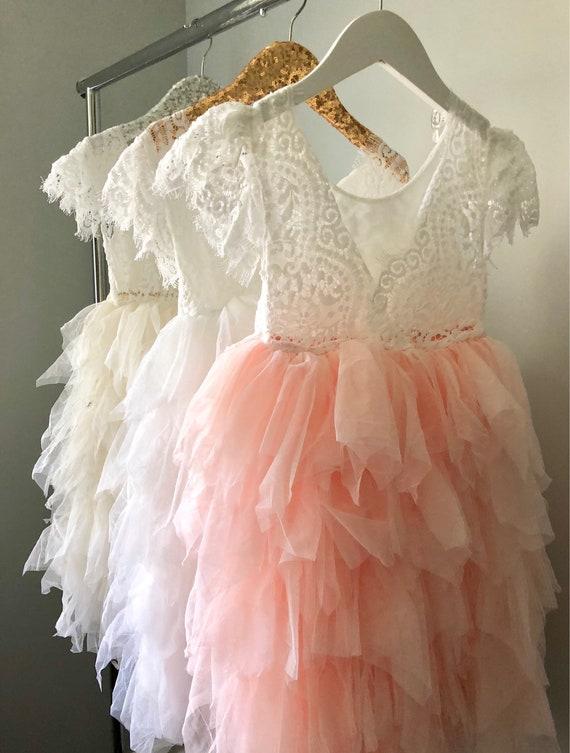 Pink Flower Girl Dress Ivory Flower Girl  Blush Flower Girl Dress Lace Flower Girl Dresses Tulle Vintage Wedding Bridesmaids Dresses Bride
