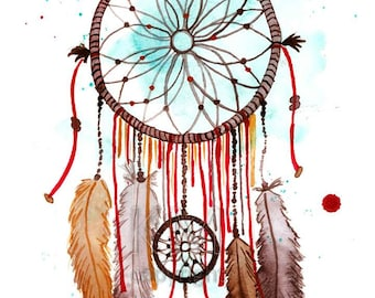 Dream Catcher #2, Print of Original Watercolor Painting - Native American wall art - Office decor and home decor