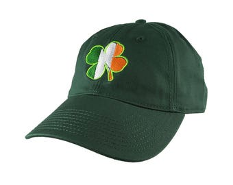 St-Patrick's Irish Flag Shamrock Embroidery on an Adjustable Forest Green Unstructured Baseball Cap with Option to Personalize the Back