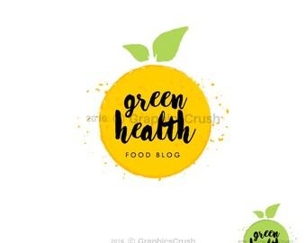 Watercolor Food Logo Food Blog Logo Design Watercolor Apple Logo Nutrition Logo Green Logo