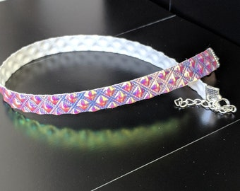 Holographic Choker – Peach, Pink, Gold, Checkers, Pattern, Hologram, Iridescent, Metallic