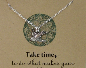 Take Time,Soul,Soul Jewelry,Inspiration,Poem,Quote,Friend,Friendship Necklace,Friends,Necklace,Charm,Sparrow,Bird,Bird Necklace,Silver Bird,