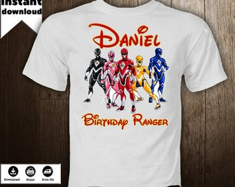 Power Rangers Iron On Image Birthday Boy Shirt  Personalized  T-Shirt Iron Transfer  Birthday DIY Power Rangers Printables  - DIGITAL FILE