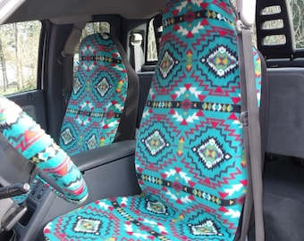1 Set of Geometric Southwest Print. Seat Covers and Steering Wheel Cover Custom Made.