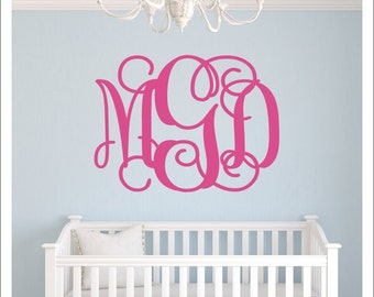 Monogram Wall Decal- Vinyl Wall Monogram -Vine Monogram - Fancy Script Wall Decal -Housewares- Preppy Personalized- Interlocking Monogram