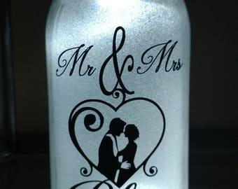 Glittered, illuminated -  Mr & Mrs - Mason jar
