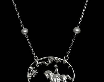 Equestrian Horse Ride In The Park Necklace, equestrian necklace, equestrian jewelry, equestrian pendant, horse jewelry, horse necklace