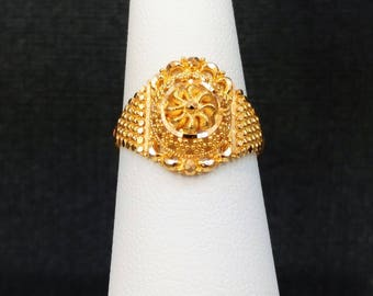 GOLDSHINE 22K Solid Yellow Gold RING Size 6 (US/Canada) Genuine & Hallmarked 22KT 916, Handcrafted and Intricate