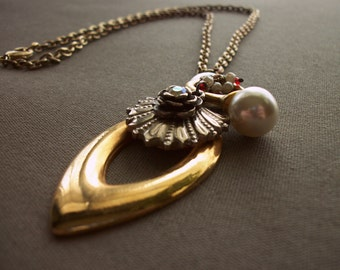 Vintage Inspired Repurposed Silver and Gold Necklace